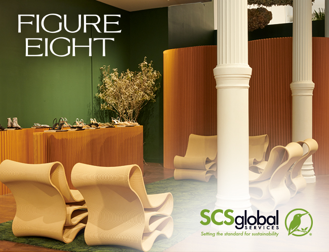 """Image reads: """"Figure Eight"""". 6 chairs pictured next to a display of shoes"""