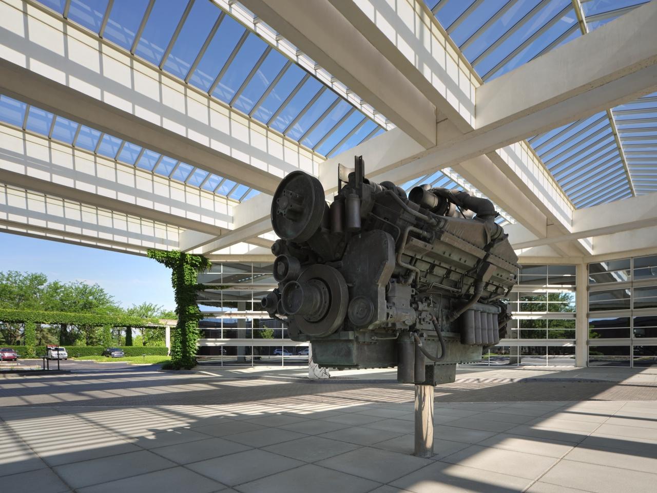 old engine block on display