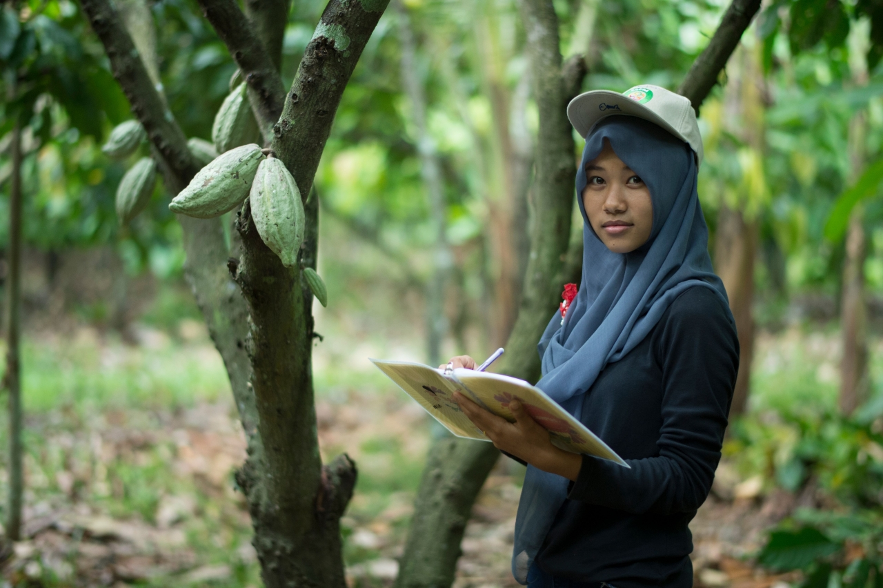 cocoa worker taking notes in the forest