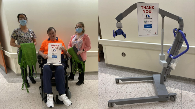 1 patient in a wheelchair and two masked medical workers stand in thank you for the donated supplies. Pictured: Hearts for Healthcare was able to purchase a lift with 31 slings for each resident at a Cold Lake, AB long-term care facility for COVID-19 protocols. Each patient had their own sling, which enhanced their care.