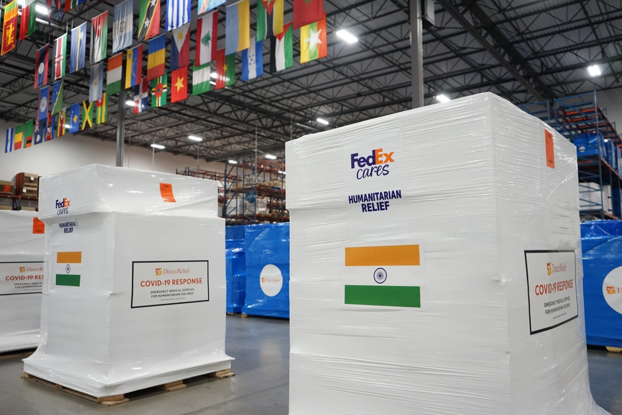 Wrapped fedex pallets of Humanitarian relief