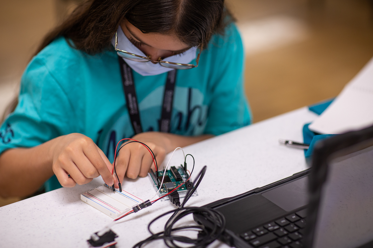 STEM student works on a technology project
