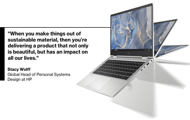 The HP EliteBook 800 Series PC is made from 50% recycled metal and uses ocean-bound plastics in the speaker enclosure.