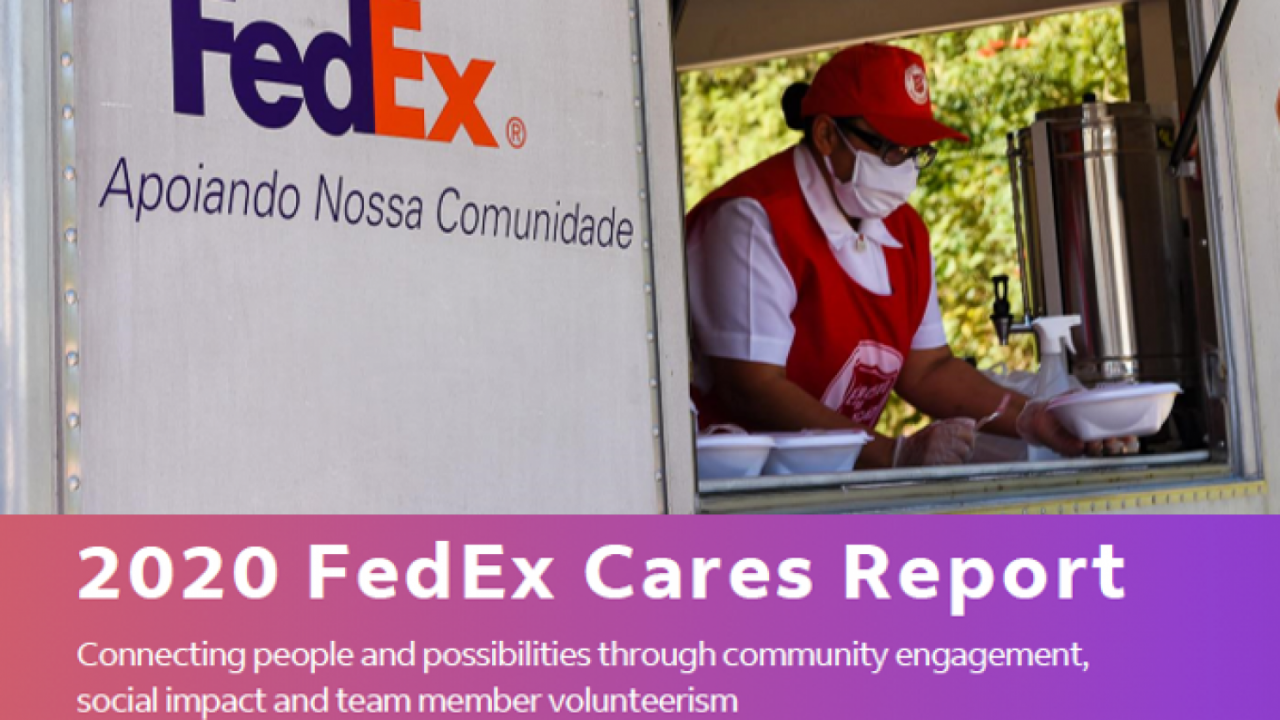 FedEx worker serving food out of a truck