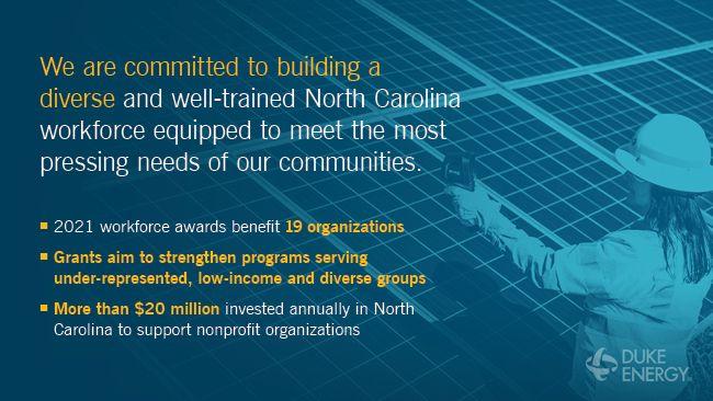 Duke energy infographic with employee next to solar panels