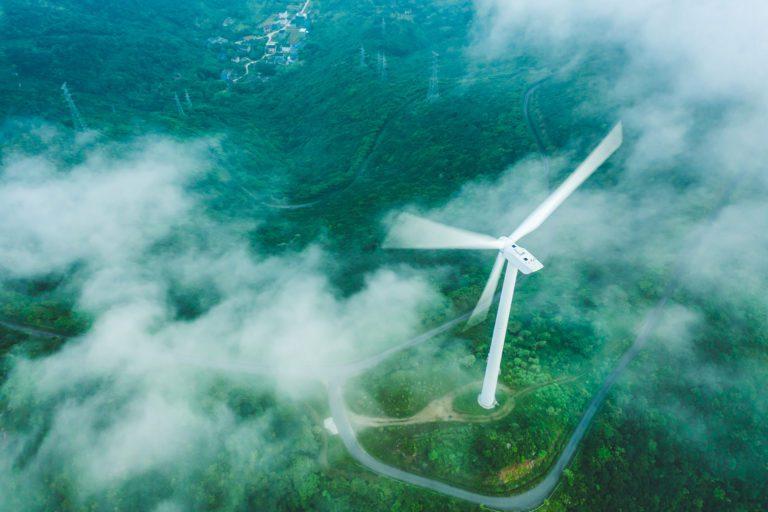Birds eye view of wind turbine