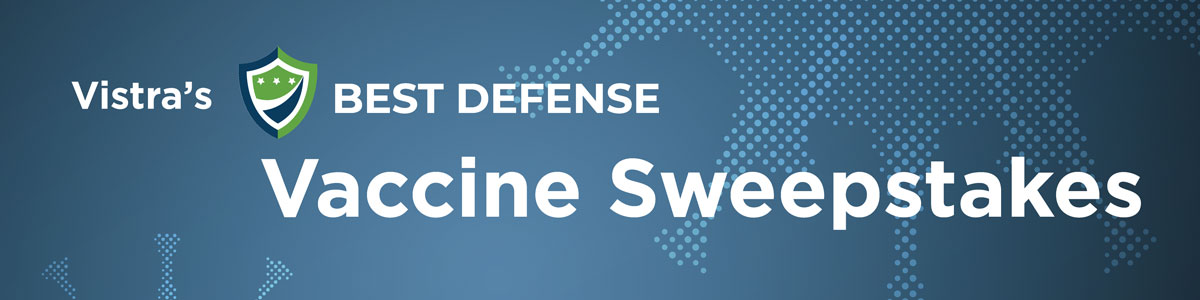 Banner reads: Vistra's Best Defense Vaccine Sweepstakes