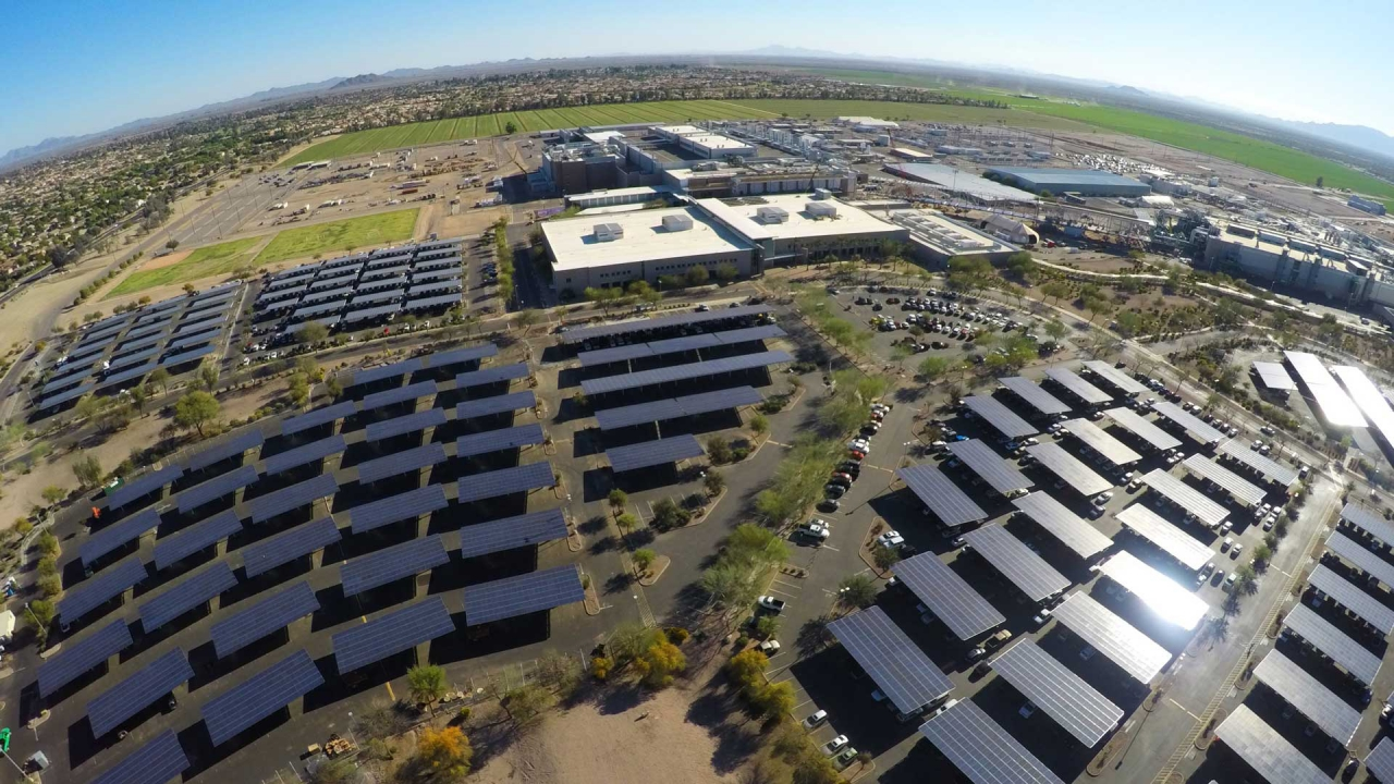 Intel Corporation has built solar parking structures at its Ocotillo, Arizona campus to keep employees' cars shaded and generate solar power. (Credit: Intel Corporation)