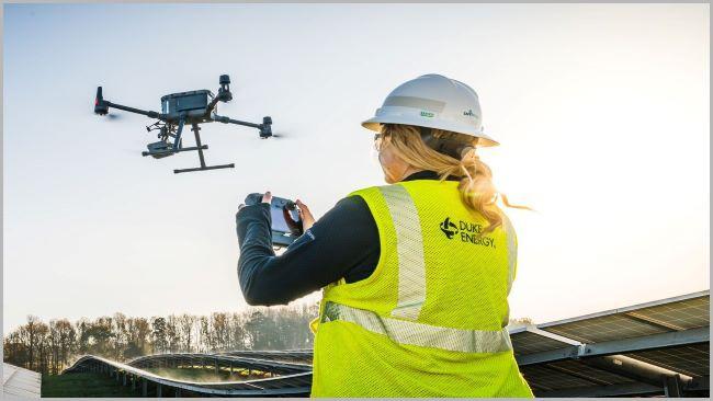 Duke Energy employee operating drone