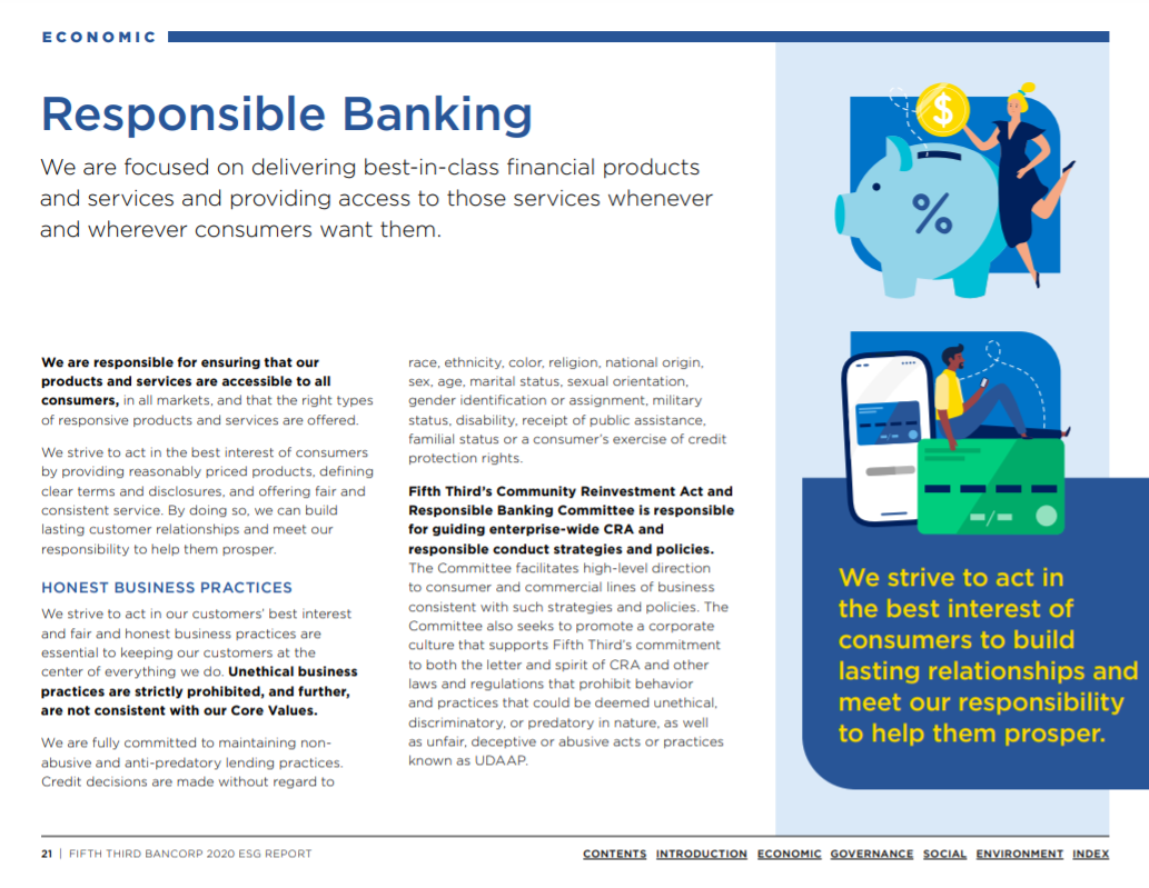 From the Fifth Third 2020 ESG Report: Responsible Banking