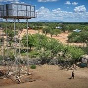 Aerial view of one of eight water points developed in the Kitui Village, as part of the project executed by Amref Health Africa in Kenya to provide access to clean water. Photo: Rooftop / GETF