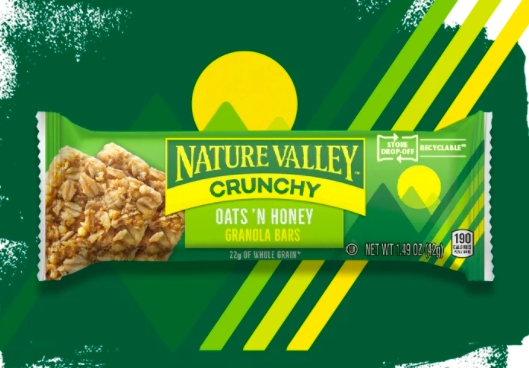 The recyclable Nature Valley wrappers have a logo making it clear these can be taken to a nearby location for disposal