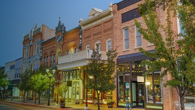 row of buildings with storefronts