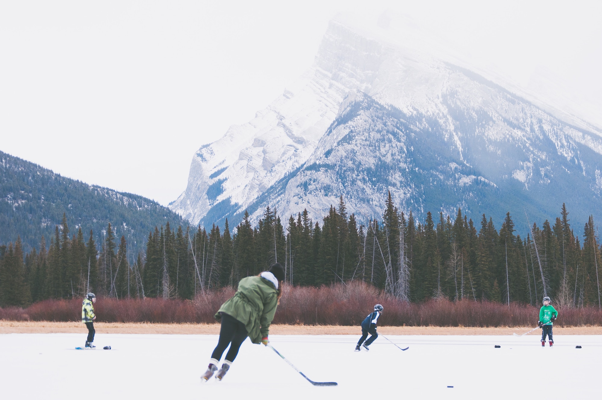 playing hockey outdoors