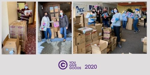 image of volunteers packing boxes above the yougivegoods logo