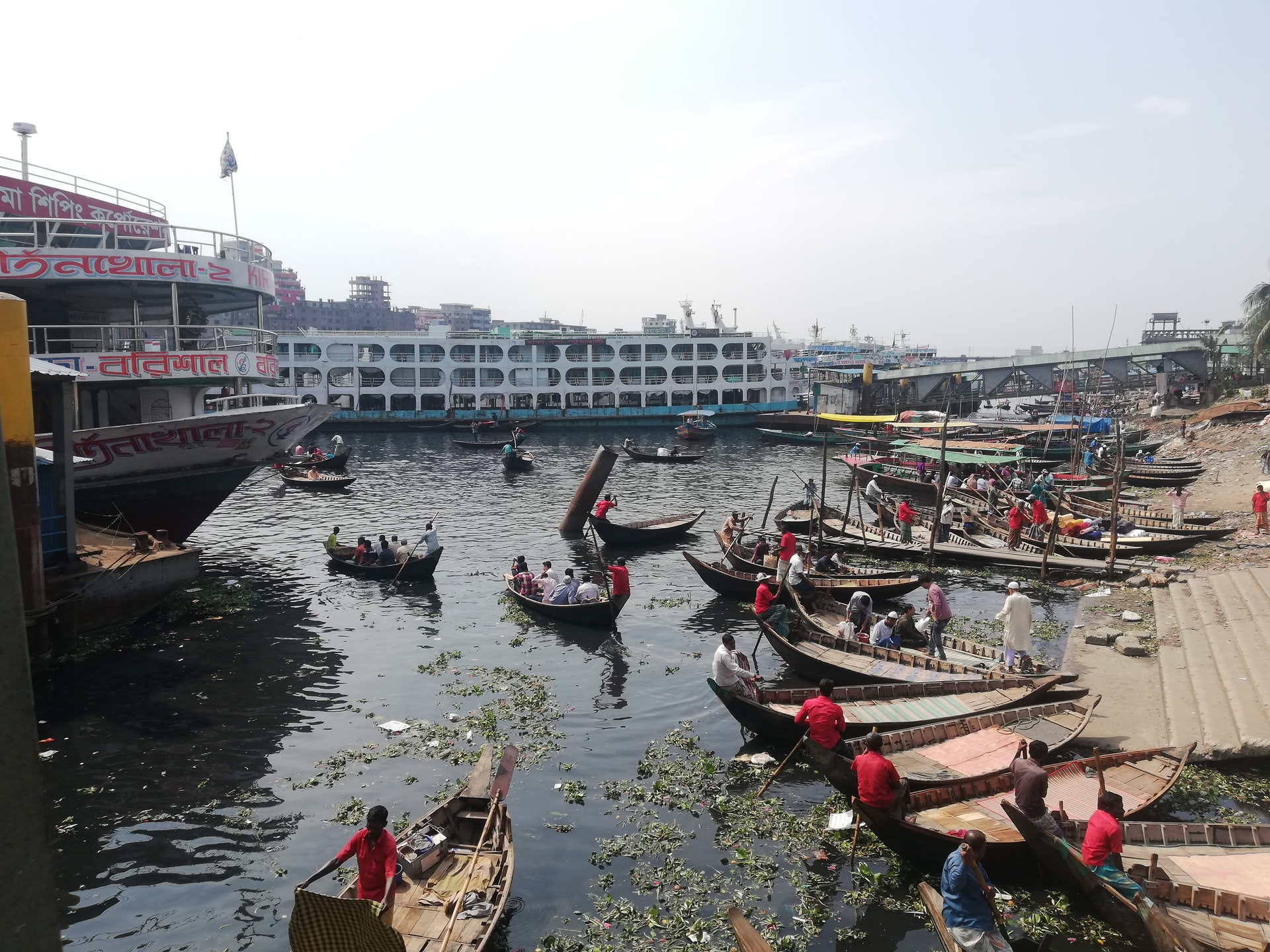 The Port of Dhaka on the Buriganga River, one of the most polluted waterways in Bangladesh.