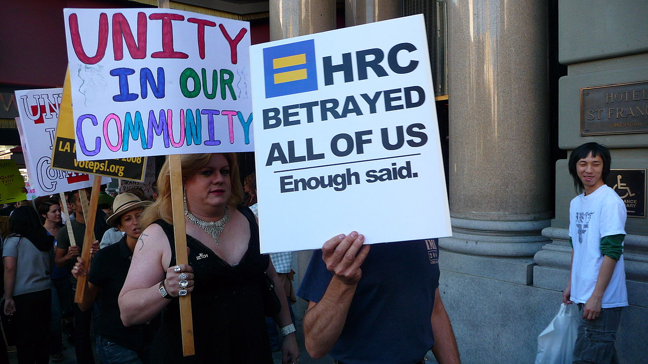 Photo: A 2008 protest resulting from what transgender activists said was the Human Rights Campaign's exclusion of the trans community from HRC's events and political agenda. (Credit: Wiki Commons/Cary Bass)
