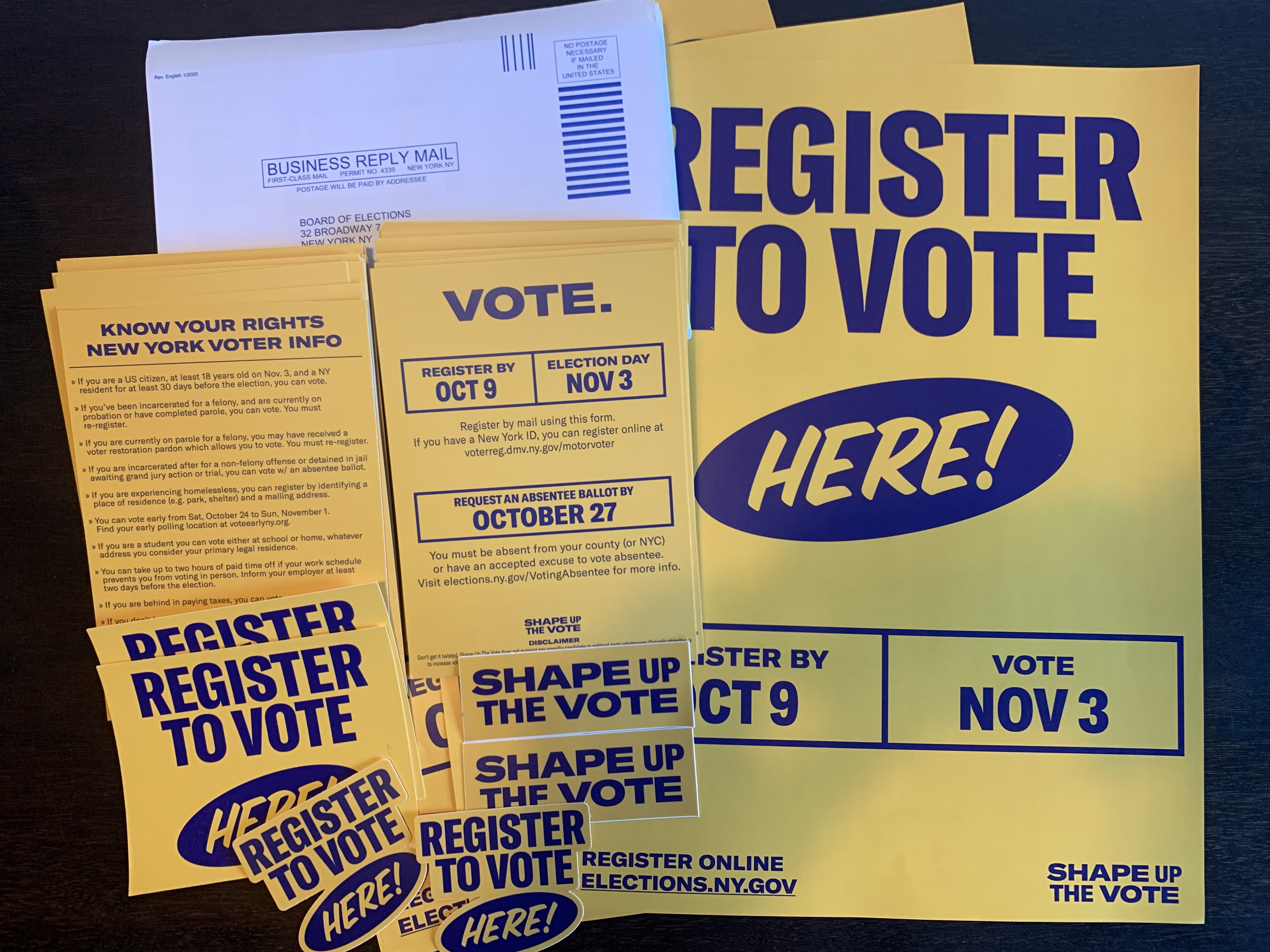 Shape Up The Vote and theCut have been distributing voter registration kits like these