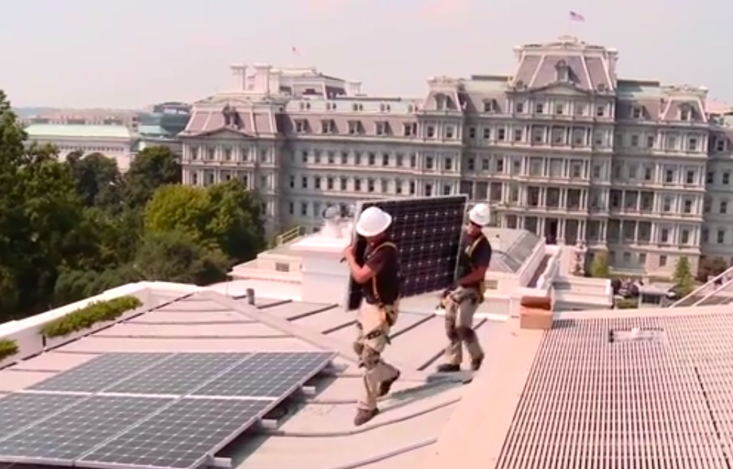 Photo: Solar panels being installed atop the White House during the Obama administration.
