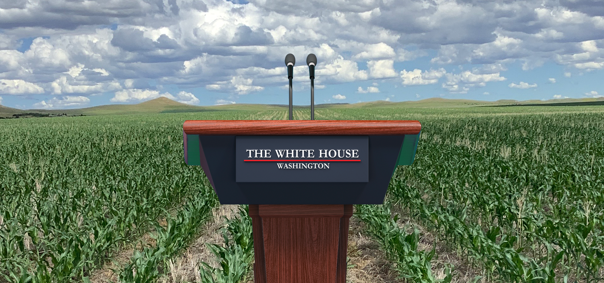 The White House Podium pictured in a field