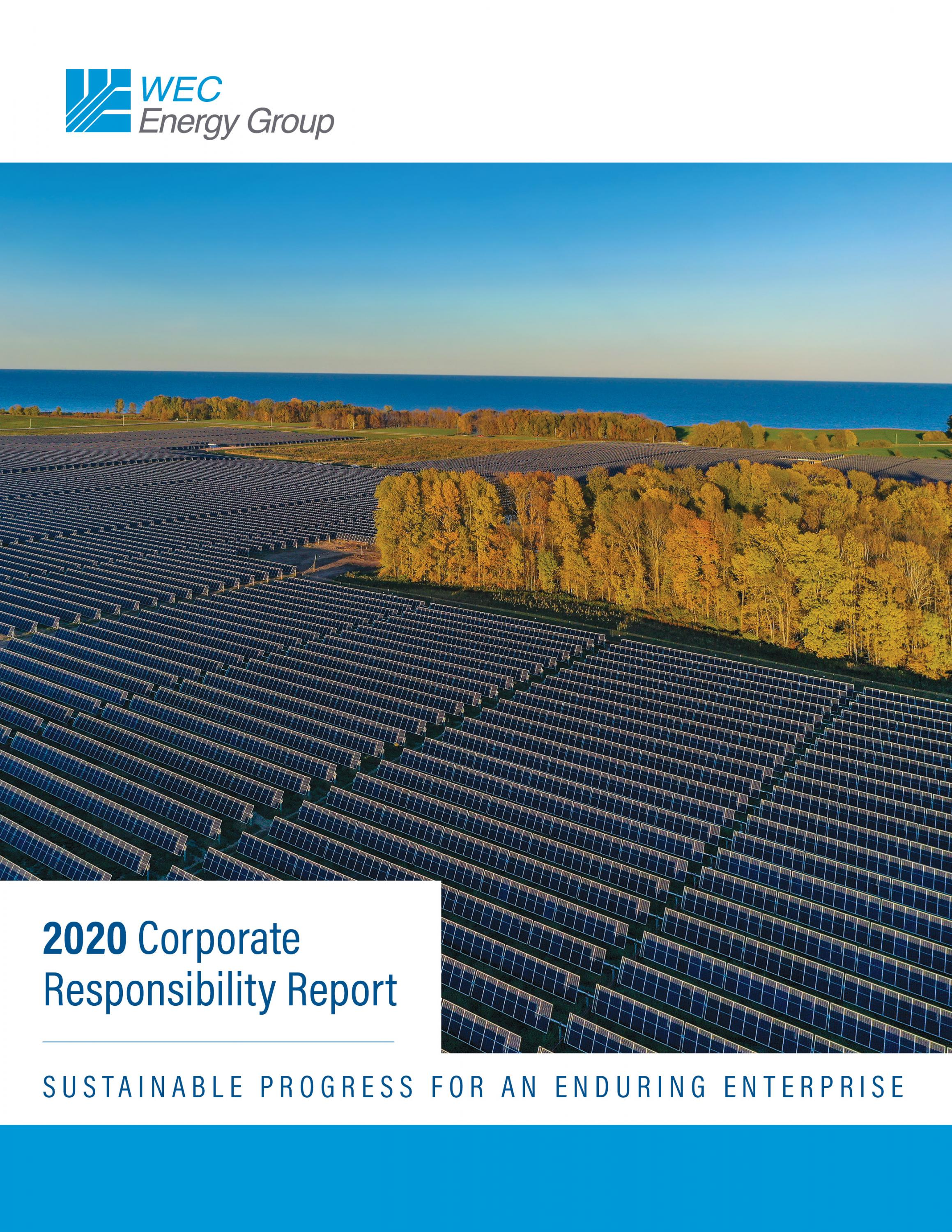 WEC Energy Group 2020 Report Cover (Solar field)