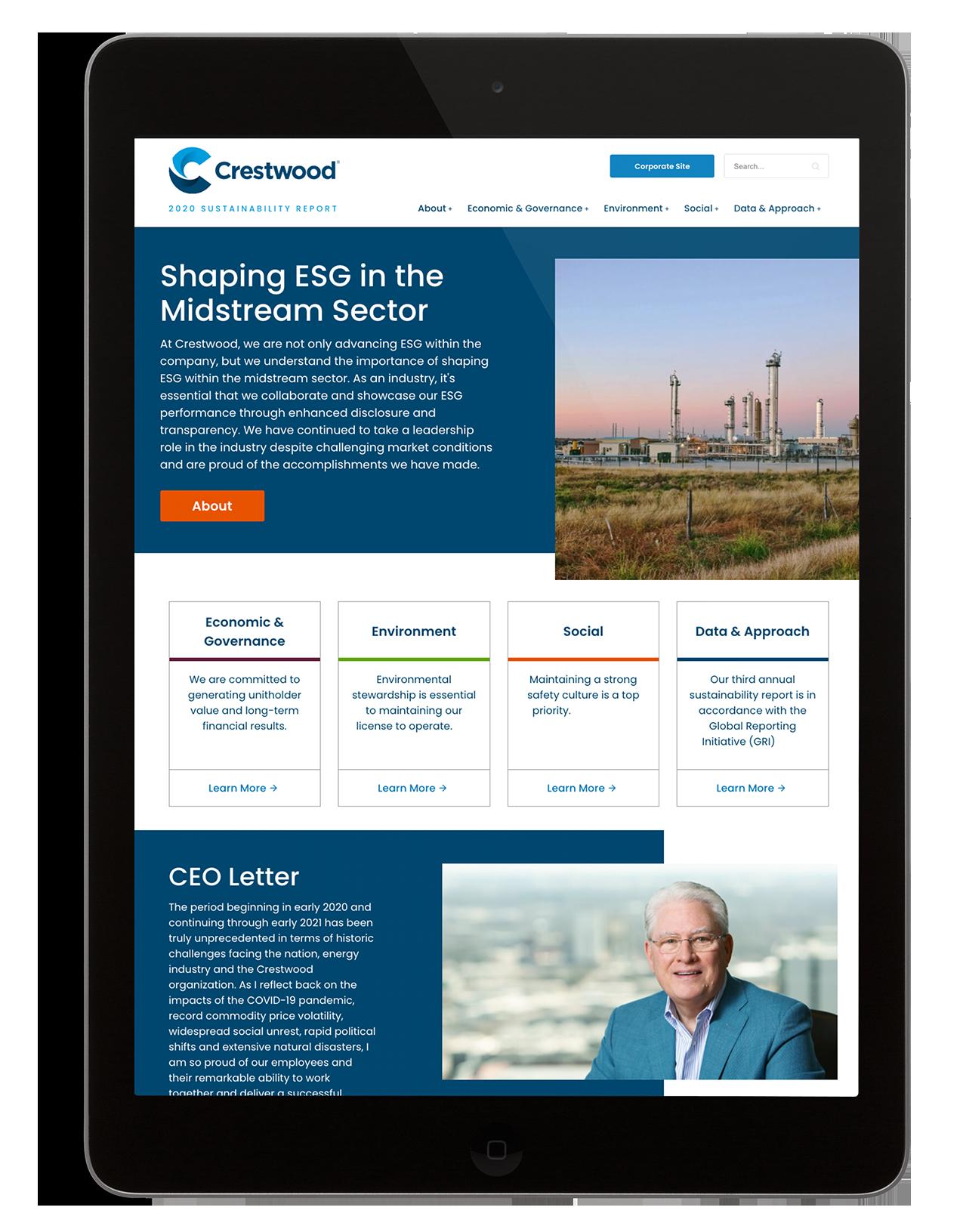 Crestwood website viewed on tablet