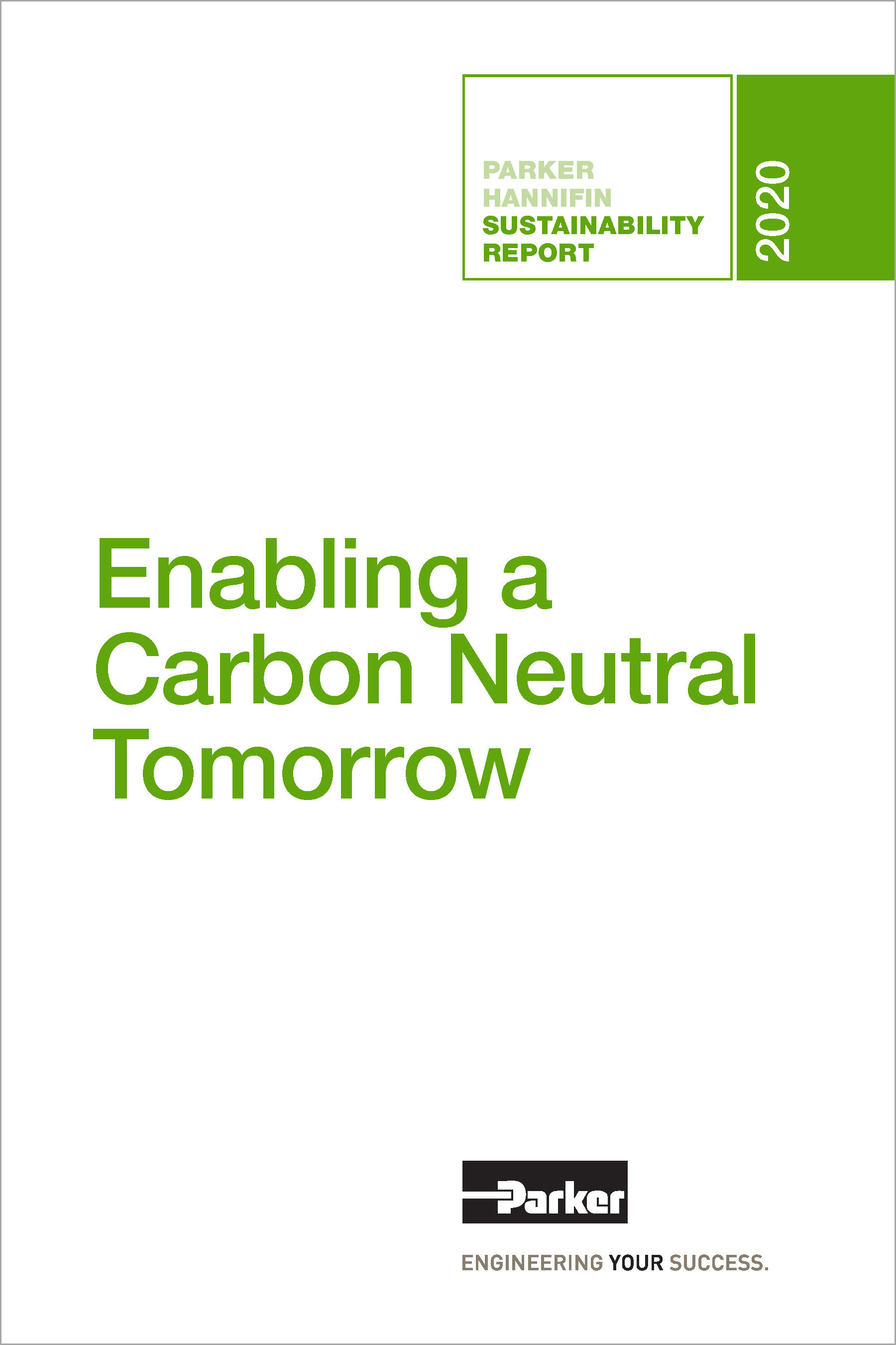 Parker Hannifin Sustainability Report 2020 Cover