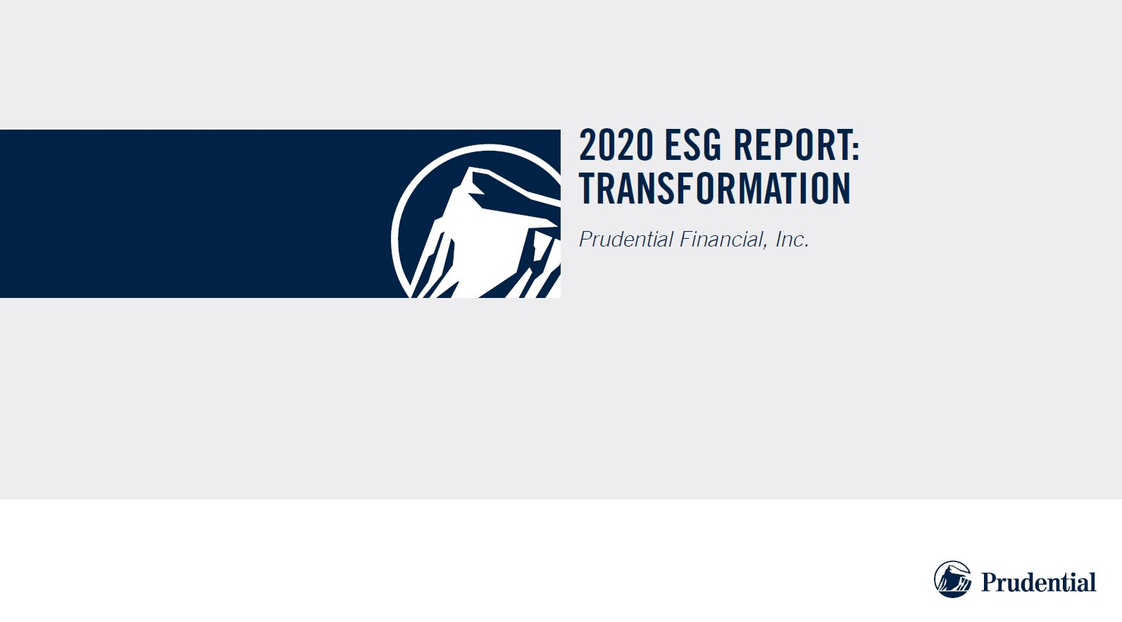 Prudential 2020 ESG Report Cover