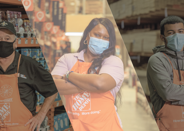 three home depot employees