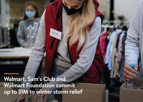 Walmart volunteer putting goods in a box