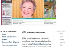 TIME Magazine Puts VolunteerMatch In Its Top 10 For 2007 Image