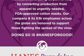 HanesBrands to Manufacture FDA-approved Cotton Masks During COVID-19 Shortage Image