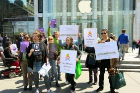 """Are You Listening Tim Cook? Major Protest at Apple's Flagship Manhattan """"Cube"""" Store Calls on Apple to Stop Poisoning Chinese Workers Image"""