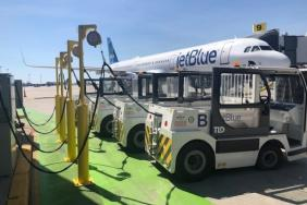 JetBlue Introduces the Largest Electric Ground Service Equipment (eGSE) Fleet at New York's JFK International Airport, Cutting Four Million Pounds of Greenhouse Gas Emissions per Year Image