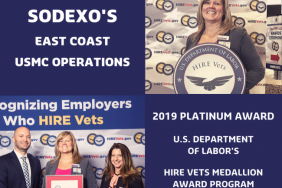 U.S. Department of Labor Presents Sodexo With Platinum HIRE Vets Medallion Image