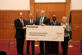 Governor Northam Announces Major Donation from Smithfield Foods to Support Programs for Homeless Veterans Image