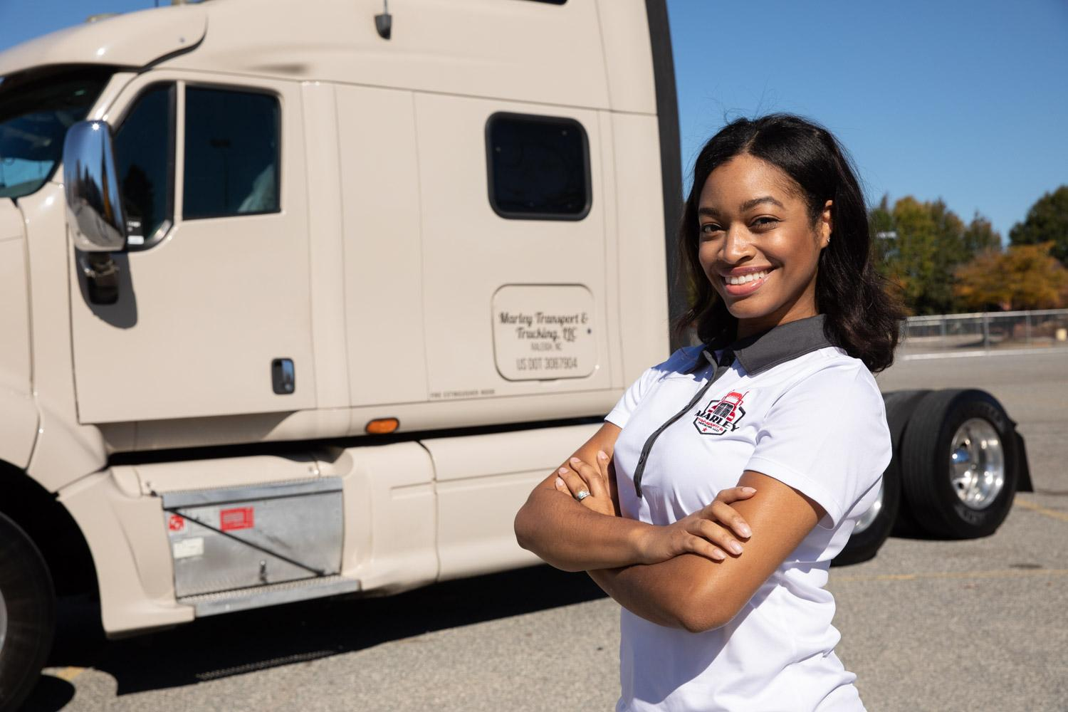 A loan through the Wisdom Fund helped Shavon Marley, owner and founder of Marley Transport & Trucking in Raleigh, North Carolina, grow her business.