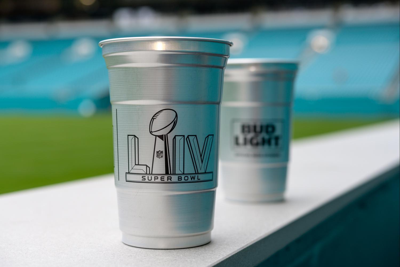Super Bowl LIV aluminum cups